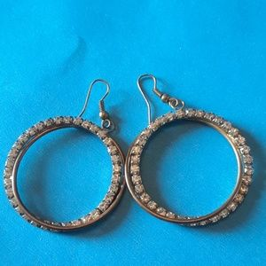 Rhinestone hook round earrings